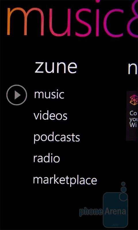 Приложение Zune на HTC 7 Mozart